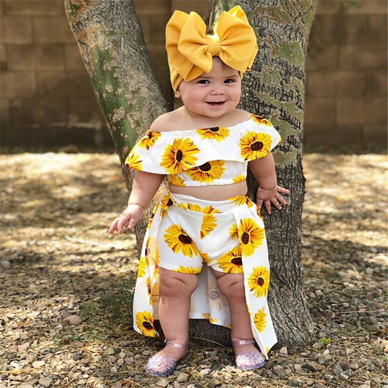 >Fashion Toddler Newborn <font><b>Kids</b></font> <font><b>Baby</b></font> <font><b>Girl</b></font> Sunflower Off Shoulder Crop Tops Shorts Dress Headband Outfits Cute Clothes