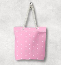 Else розовые белые звезды обнимают розовые сердца скандинавские белые веревочные ручки Холщовая Сумка с мультяшным принтом на молнии сумка н...