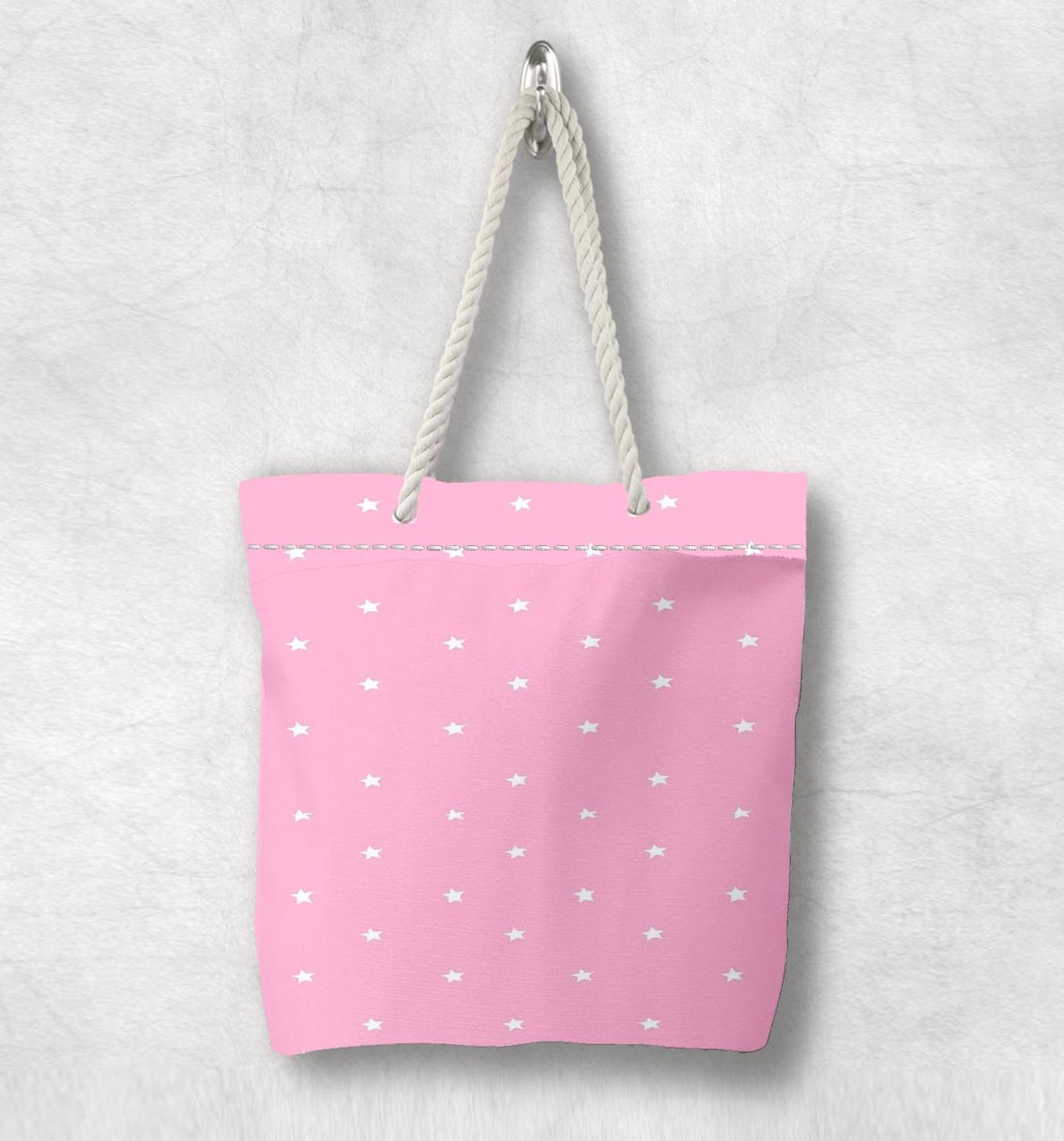 Else Pink White Stars Hugs Pink Hearts Scandinavian White Rope Handle Canvas Bag  Cartoon Print Zippered Tote Bag Shoulder Bag