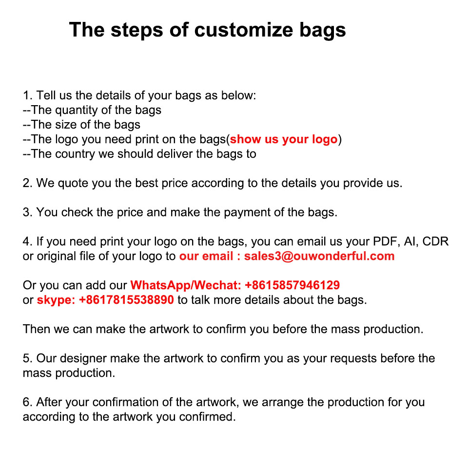 the step of customize bags12