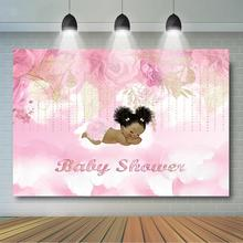 Girl Baby Shower Backdrop Royal Princess Party Decor Banner Cute Little Pink Floral Background