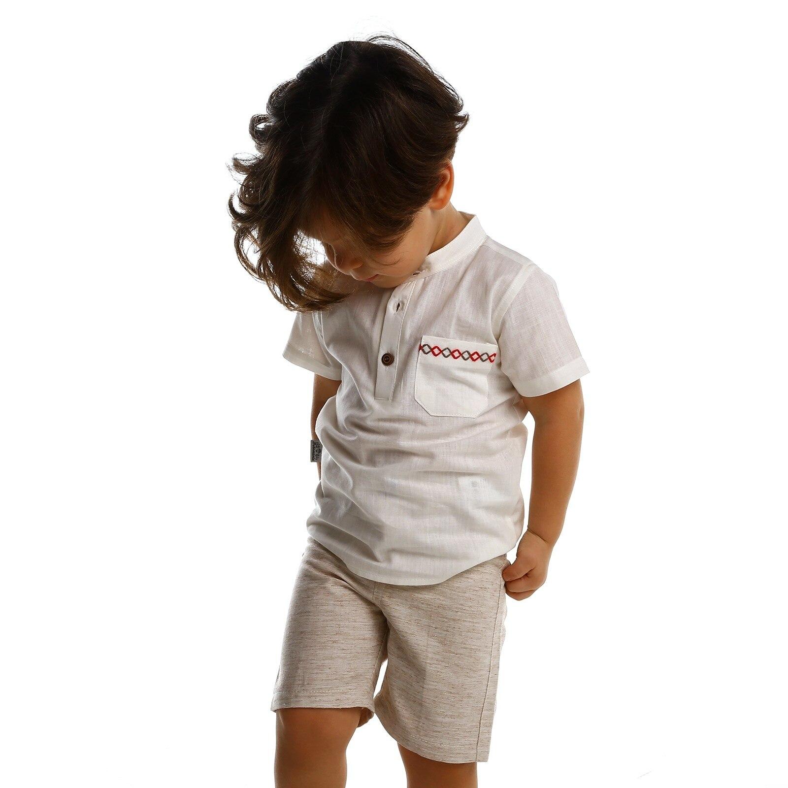 Ebebek Bebemania Summer Baby Boy Indian Shirt Short 2 Pcs Set