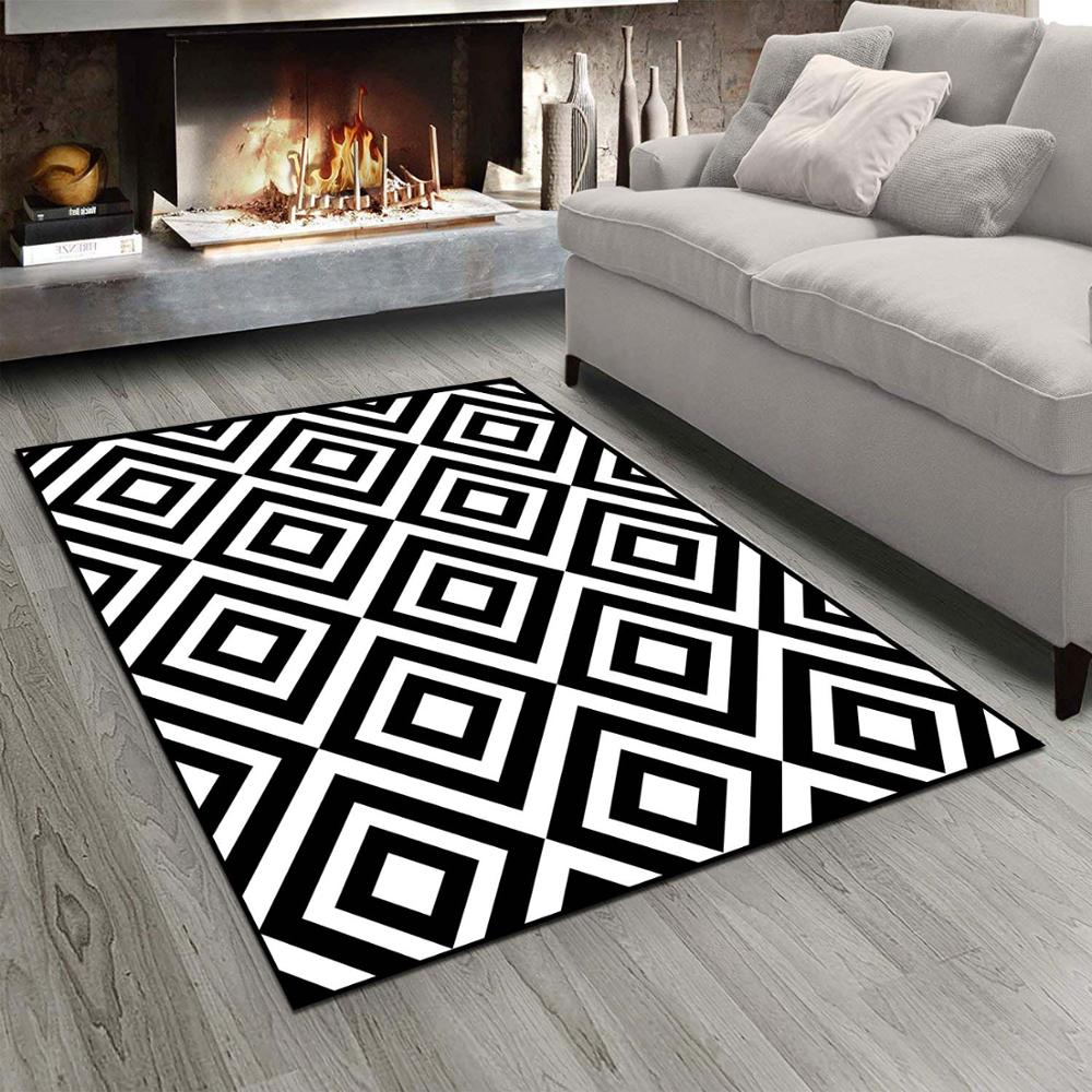 Else Black White Geometric Vintage Tiles 3d Print Non Slip Microfiber Living Room Modern Carpet Washable Area Rug Mat