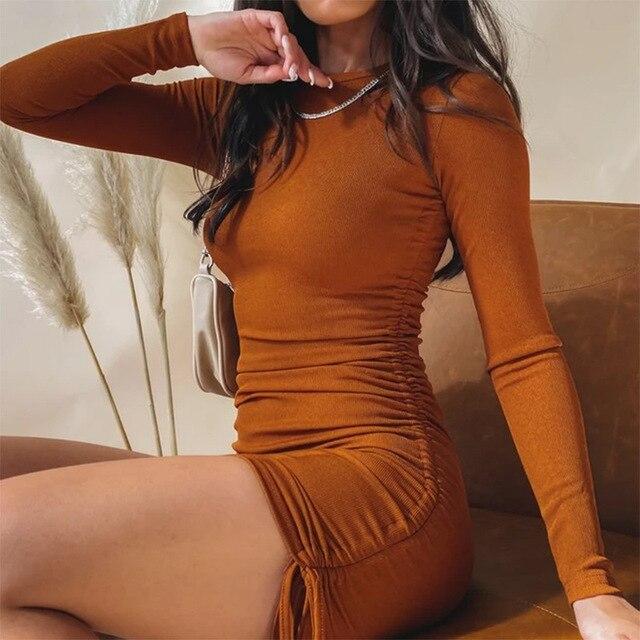 Hirigin-Vestido corto acanalado con hombros descubiertos para mujer, prenda Sexy de punto con cordón y cuello redondo, sin mangas, ceñido, para fiesta, Verano 4