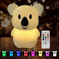 Luz LED nocturna para niños, juguete creativo bonito luminoso de Koala, lámpara de silicona con Sensor táctil, decoración de dormitorio, regalo de cumpleaños