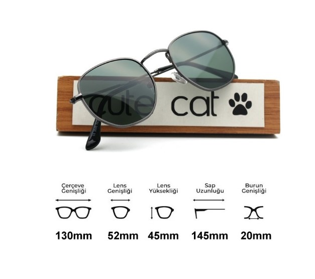 Cute Cat 3548 Hexagonal Polarized (Rayban Desing) Unisex Sunglasses Made in Turkey