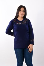 Women's Large Size Fronting Embroidered Navy Blue Blouse 2003