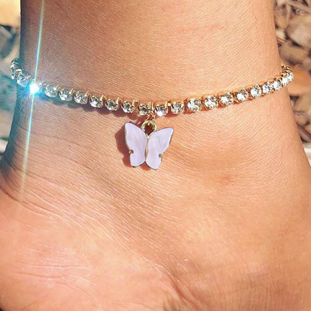 Cute Pink Color Butterfly Tennis Chain Anklets Jewelry for Women Butterfly Rhinestone Chain Anklet Bracelet Beach Foot Jewelry