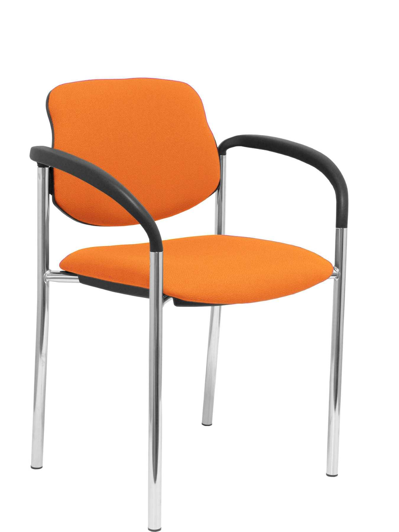 Confident Chair 4-leg And Estructrua Chrome Arms-Seat And Back Upholstered In Fabric BALI Orange