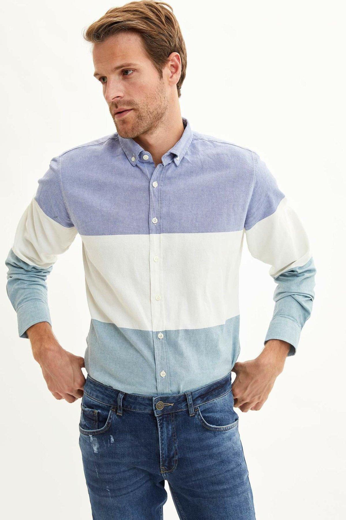 DeFacto Men Simple Striped Solid Shirts Long Sleeve Shirts Mens Casual Lapel Collar Casual Shirt Tops New-L6273AZ19AU