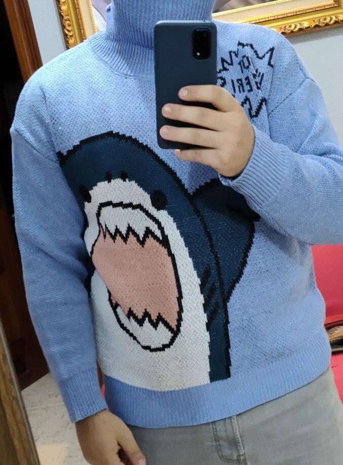 Harajuku E-boy E-girl Turtlenecks Oversized Shark Sweater photo review