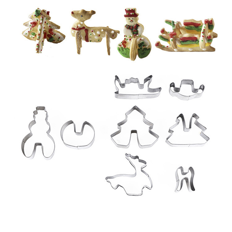 10pcs 3D Gingerbread house Stainless Steel Christmas Scenario Cookie Cutters Set Biscuit Mold Fondant Cutter Baking Tool in Cookie Tools from Home Garden