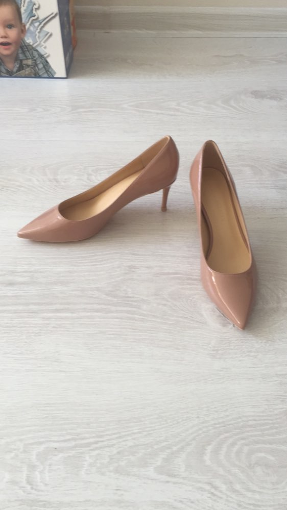 Women Beige Leather High Heel Shoes photo review