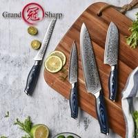 4 Pcs Damascus Chef Knife Set Japanese Steel Damascus Kitchen Knives vg10 Chef's Pro Tools Santoku Utility Boning Best Gift NEW