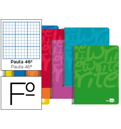 SPIRAL NOTEBOOK LEADERPAPER FOLIO WRITE SOFTCOVER 80H 60 GR STRIPED NO. 46 ASSORTED COLORS 10 Pcs