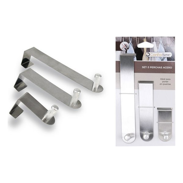Door Coat Rack Confortime Stainless Steel (3 Uds)