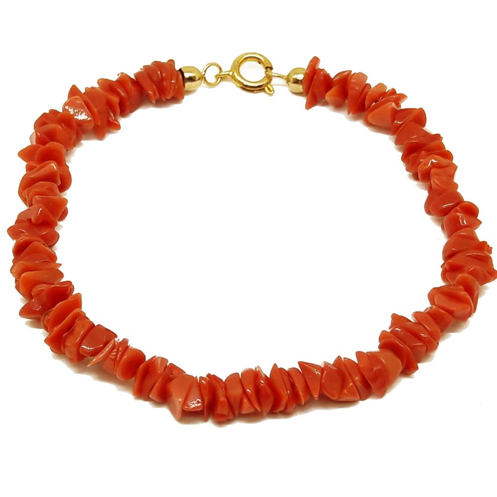 El Coral The Coral chain bracelet Coral Red Sardinia Chips 7 mm and Close Gilded