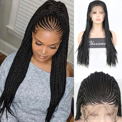 Charisma Long Box Braids Braided Wigs Heat Resistant Wig 13X6 Synthetic Lace Front Wig for Women with Baby Hair Cosplay Wigs