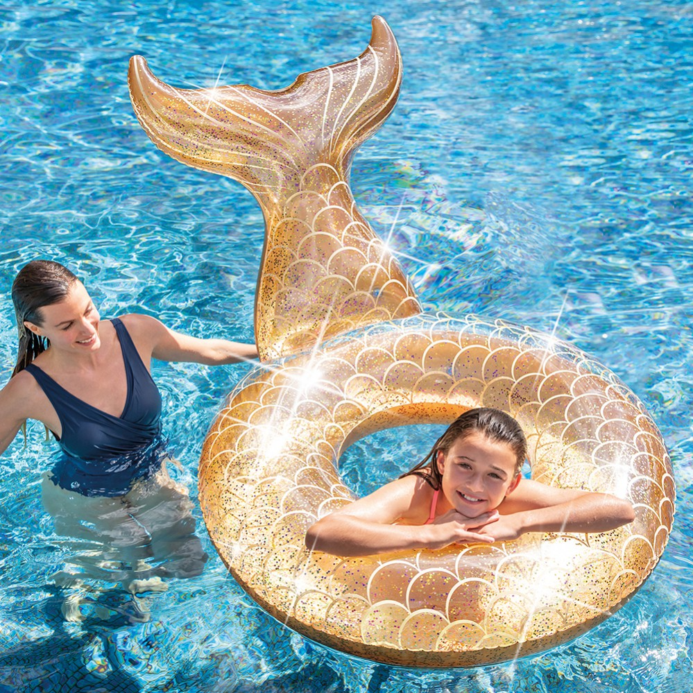 flotador de cola de sirena dorado