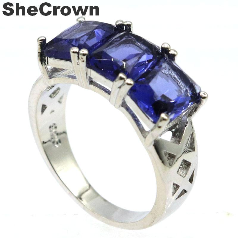 23x9mm New Arrival Created New Stone Iolite Gift For Sister Silver Rings
