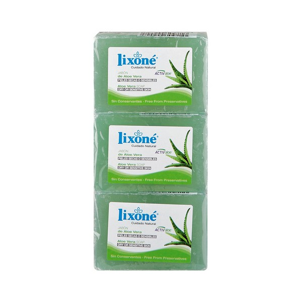 Natural Glycerine Soap Bar Aloe Vera Lixoné (3 Uds)