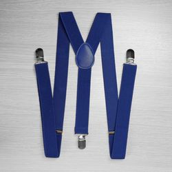 Pants suspenders narrow (2.5 cm, 3 clips, blue) 52867