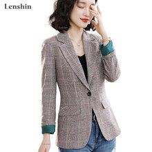 Abrigo a cuadros Lenshin Vintage estilo inglés de alta calidad con bolsillos para mujer chaqueta de un solo botón Blazer de prendas de vestir a la moda