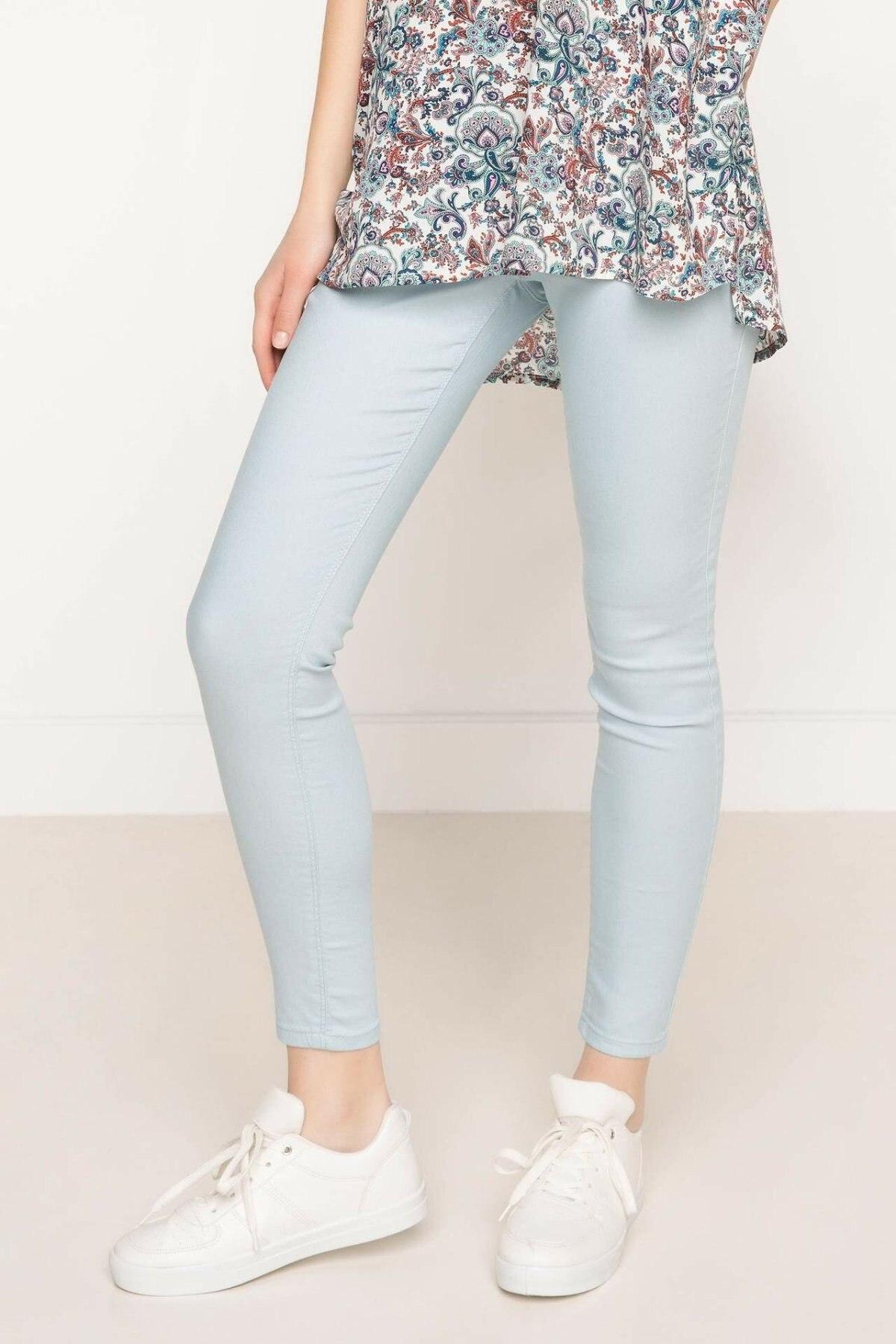 DeFacto Woman Skinny Trousers Light Blue Women Casual Pencil Pants Fit Body Women Slim Bottoms Trousers-G5963AZ17SM