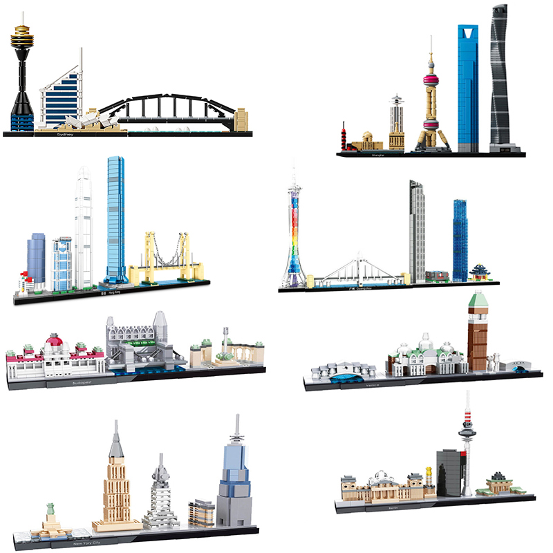 2019 City House Shanghai London Berlin Venice Street View Creator Urban Architecture Model Building Blocks Children's Toys gifts(China)