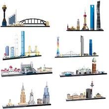 2019 Casa de la ciudad Shanghai de Londres Berlín Venecia, vista a la calle creador arquitectura urbana de bloques de construcción juguetes de los niños regalos