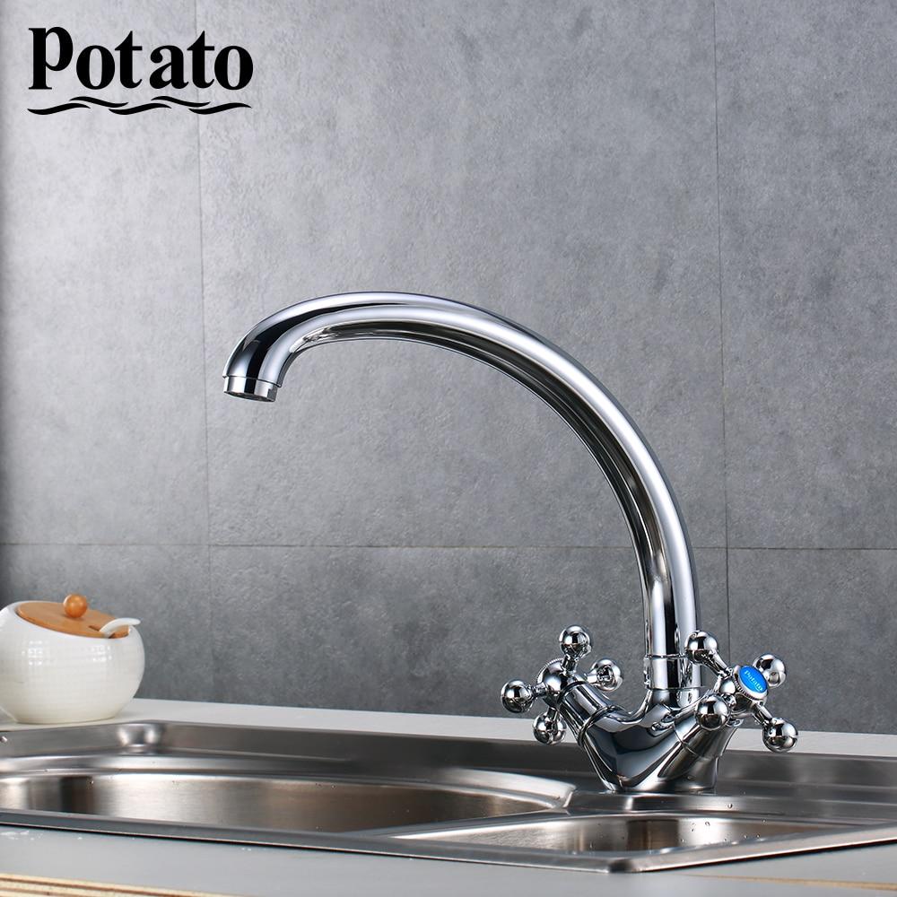 Potato Kitchen Faucet Kitchen Taps Sink Mixer Taps Deck Mounted Chrome Polished Basin Faucet Hot&Cold Water Swivel Mixer P4261