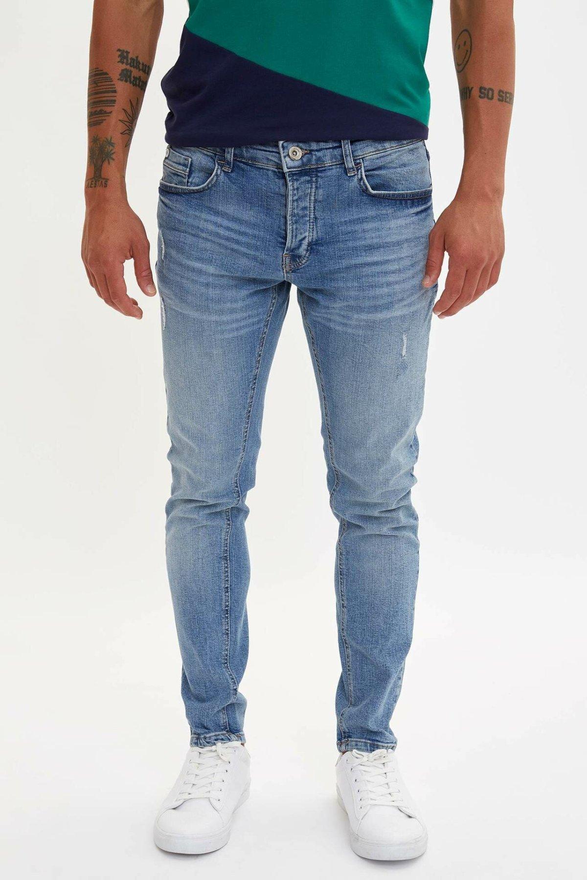 DeFacto Man Fashion Wash Blue Simple Trousers Jeans Casual Classic Denim Jeans Casual Elasticity Pants Male -M1260AZ19AU