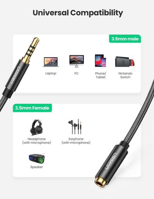 UGREEN 3.5mm Male to Female Extension Cable with Microphone Stereo Audio Adapter Compatible for iPhone iPad Smartphones Tablet 2