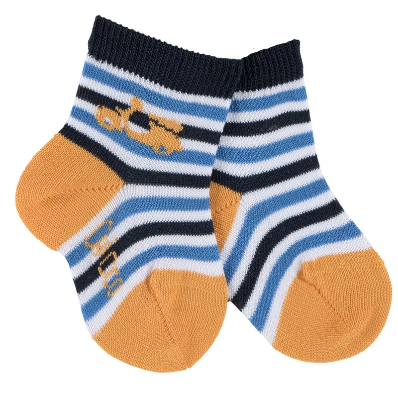 Socks 2 pairs Chicco, size 020, color white-blue-orange stripe socks 2 pairs chicco size 022 color white