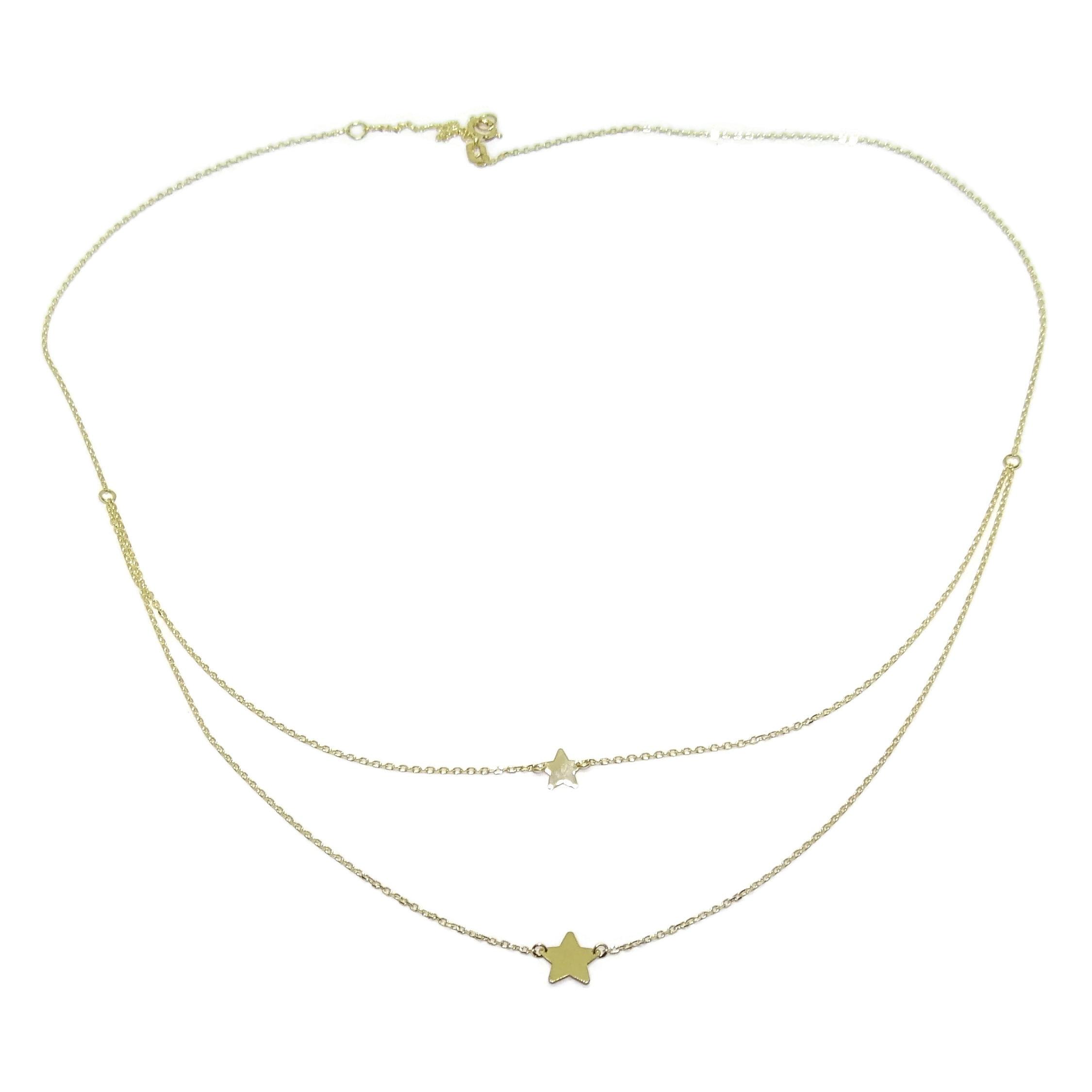 Collier moderne Doble de Oro Amarillo de 18k avec Cadena Mini Forzada Dos Alturas de 45cm 40cm