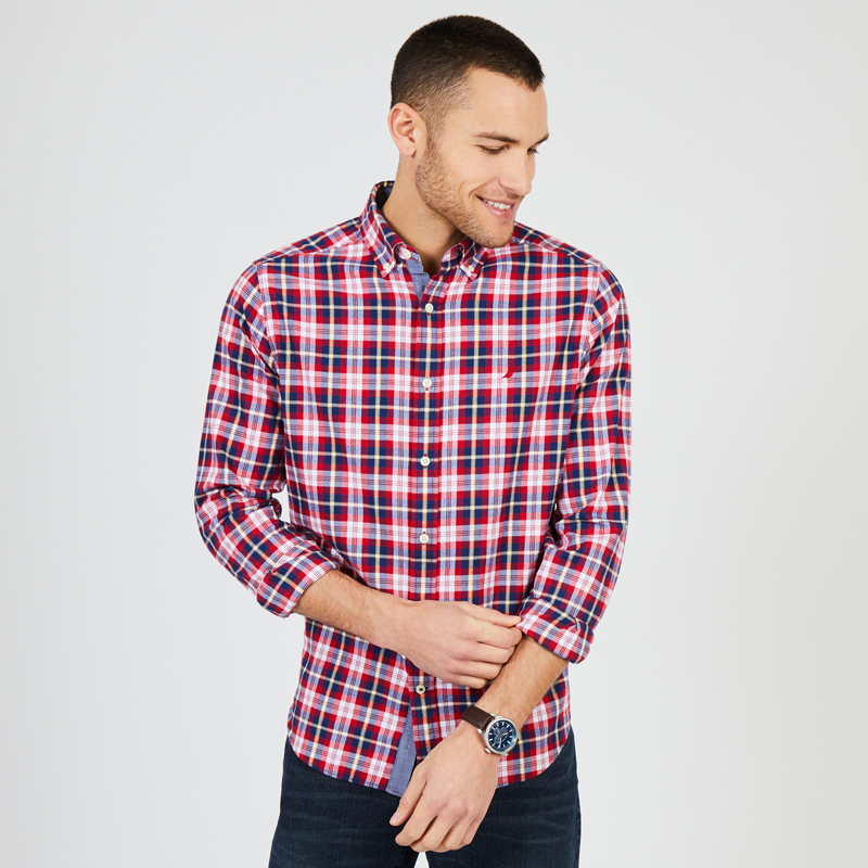 Nautica-Shirt's Pictures And Reds Stripes And Blue For Men-W83936_6RE