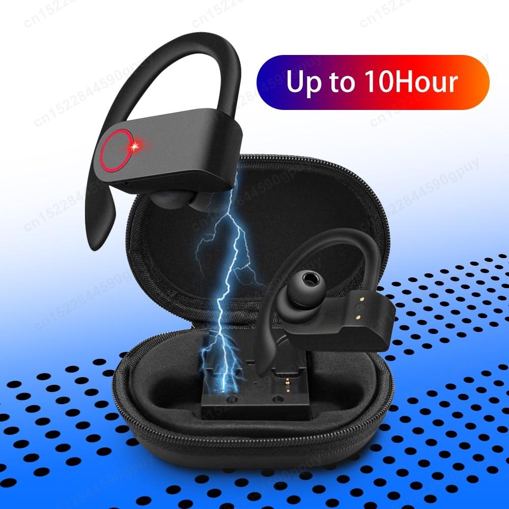 Беспроводные спортивные наушники, TWS, Bluetooth 5,0, наушники, ушные крючки, для бега, шумоподавление, стерео наушники с микрофоном, водонепроницае...