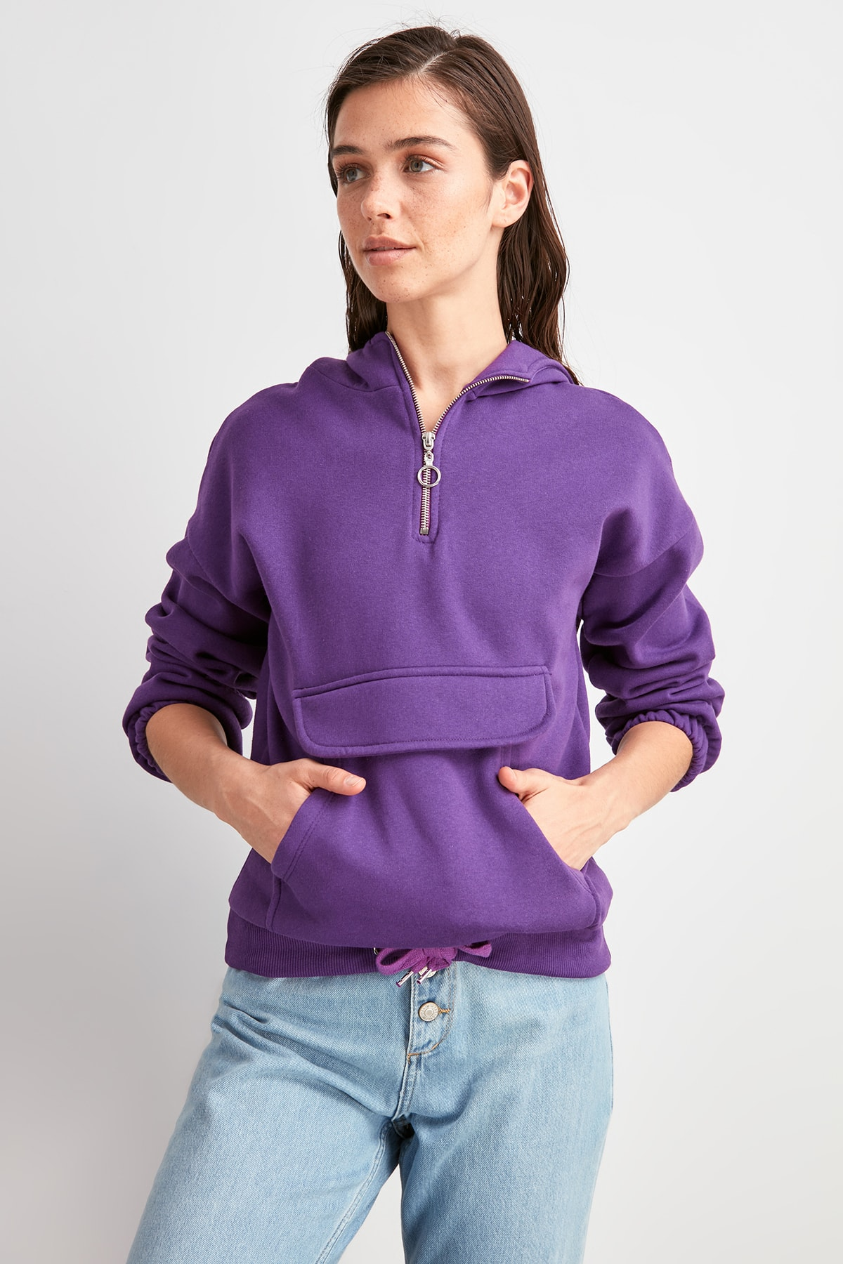 Trendyol Kangaroo Pockets Şardonlu Knitted Sweatshirt TWOAW20SW0787