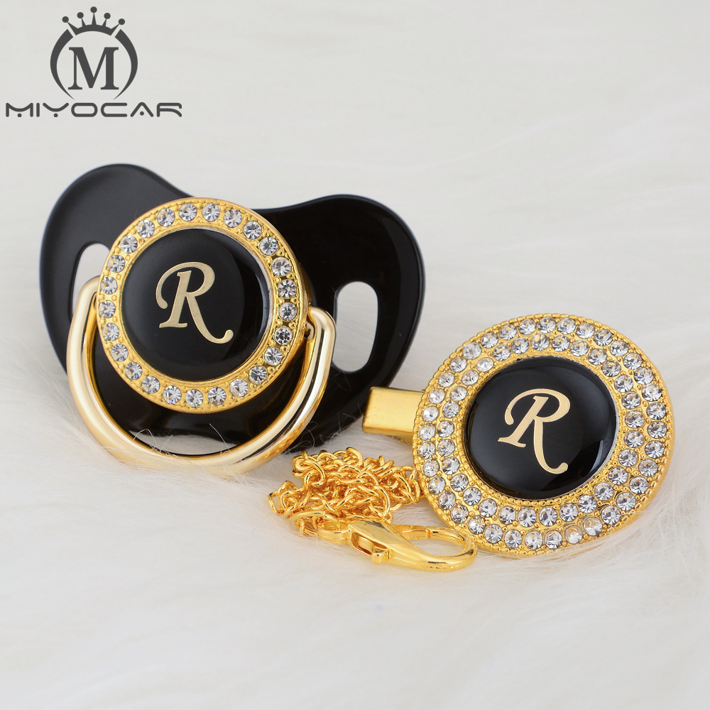 MIYOCAR Gold Silver Name Initials Letter R Beautiful Bling Pacifier And Pacifier Clip BPA Free Dummy Bling Unique Design LR