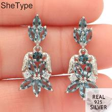 25x11mm 3.37g Elegant Created London Blue Topaz Pink Kunzite Natural CZ Gift For Girls Real 925 Solid Sterling Silver Earrings