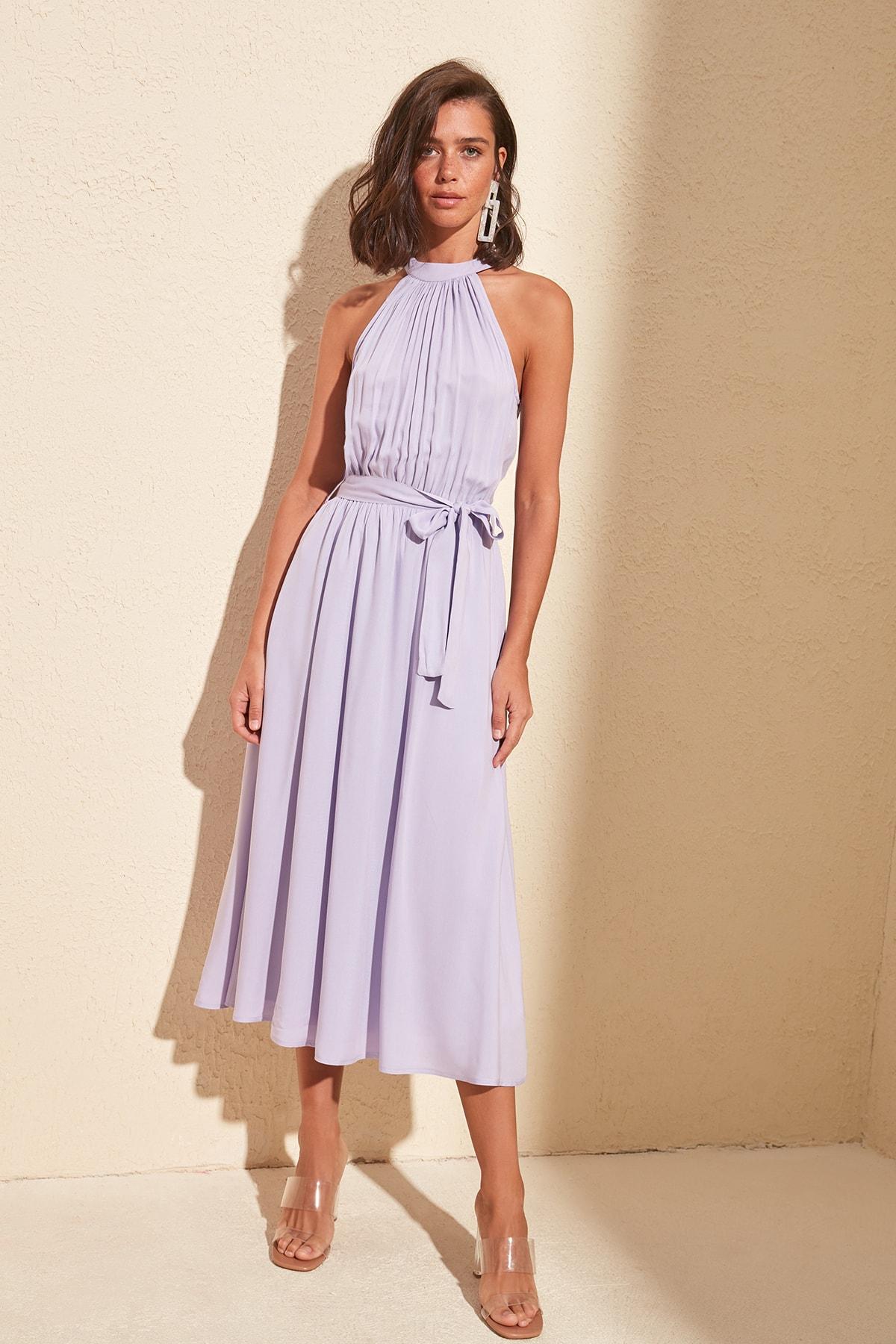 Платье с поясом TWOSS19EL0155|Платья|   | АлиЭкспресс