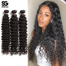 Diepe Golf Bundels Krullend Human Hair Extensions Krullend Deep Water Wave 30 Inch Bundels 3 4 Pcs Virgin Hair Weave menselijk Haar Bundels(China)