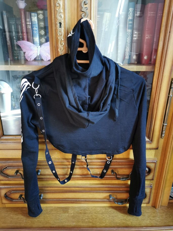 Skeleton Print Gothic Punk Hooded Crop Top with Mask photo review