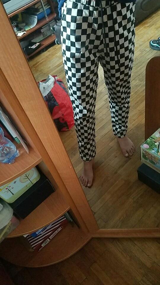 Vangull Plaid Pants Womens High Waist Checkered Straight Loose Sweat Pants Casual Fashion Trousers Pantalon Femme Sweatpants photo review