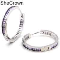 30x4mm Fancy SheCrown Circle Purple Amethyst Woman's Wedding Silver Pendant