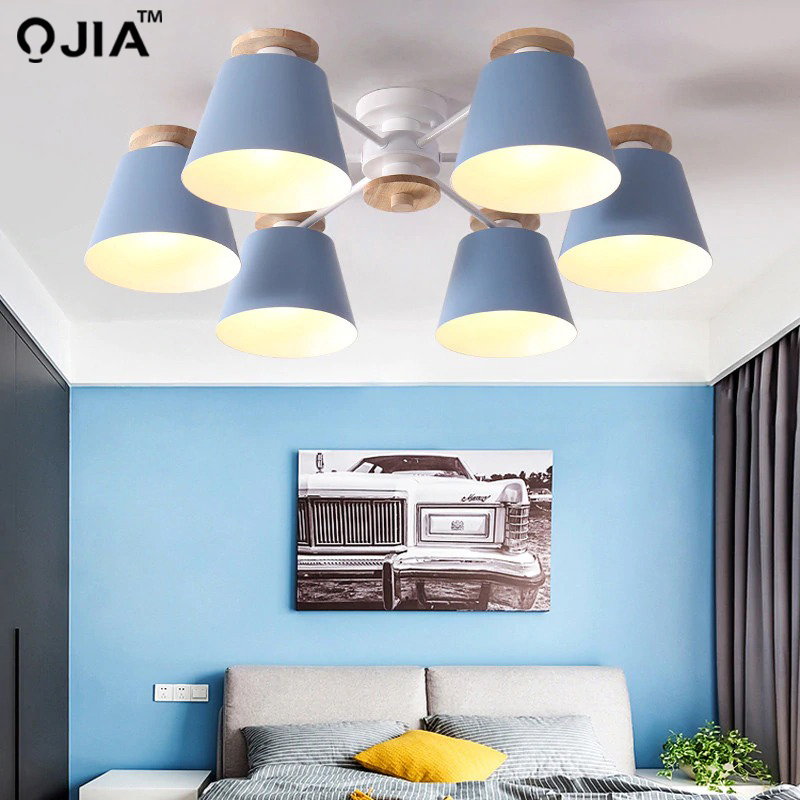 Image 4 - Chandeliers  Living Room suction top Lighting grey green blue yellow pink body Wooden Hanging Light Lampshade Kitchen Lights-in Chandeliers from Lights & Lighting