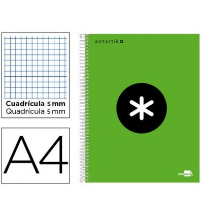 SPIRAL NOTEBOOK LEADERPAPER A4 MICRO ANTARTIK LINED TOP 120H 100 GR CUADRO5MM 5 BANDS 4 HOLES GREEN COLOR