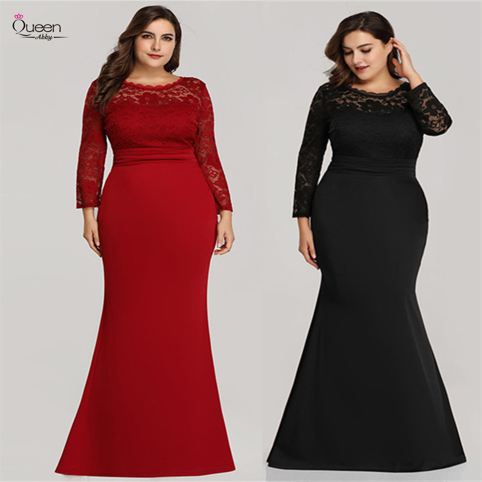 Mermaid Plus Size Floor-Length   Evening     Dress   2020 New Fall Lace Scoop   Dress   Party Gown vestidos de fiesta de noch