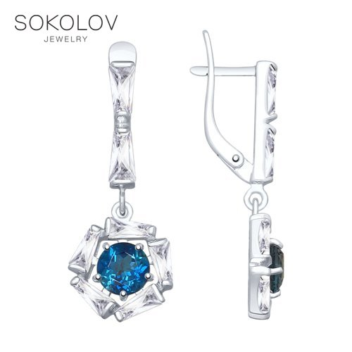 SOKOLOV Silver Drop Earrings With Stones With Stones With Stones With Stones With Stones With Blue Topaz And Cubic Zirconia Fashion Jewelry Silver 925 Women's Male