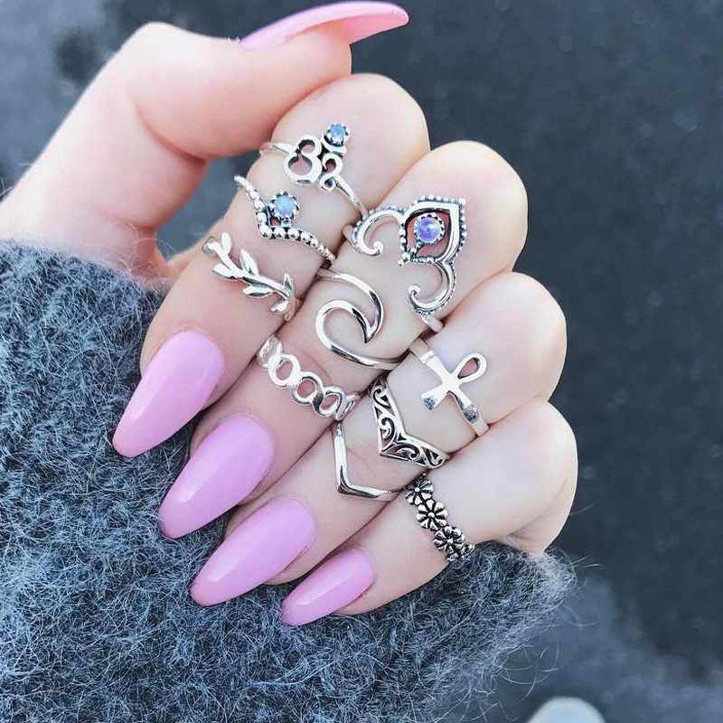 Jinwateryu 10 Stks/set Ringwomen Bohemian Hand Crown Hollow Caved Bloem Ringen Geometrische Crystal Zircon Ring Joint Knuckle Rings